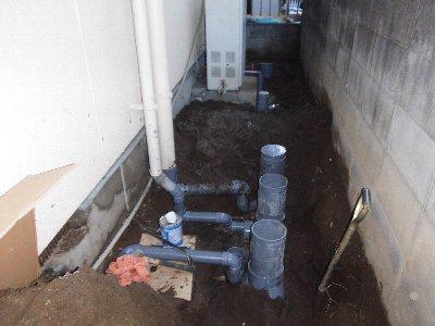 2  工事中 新たに排水マスを設置しました。
