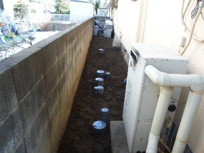 4  工事中 土を埋め戻しました。
